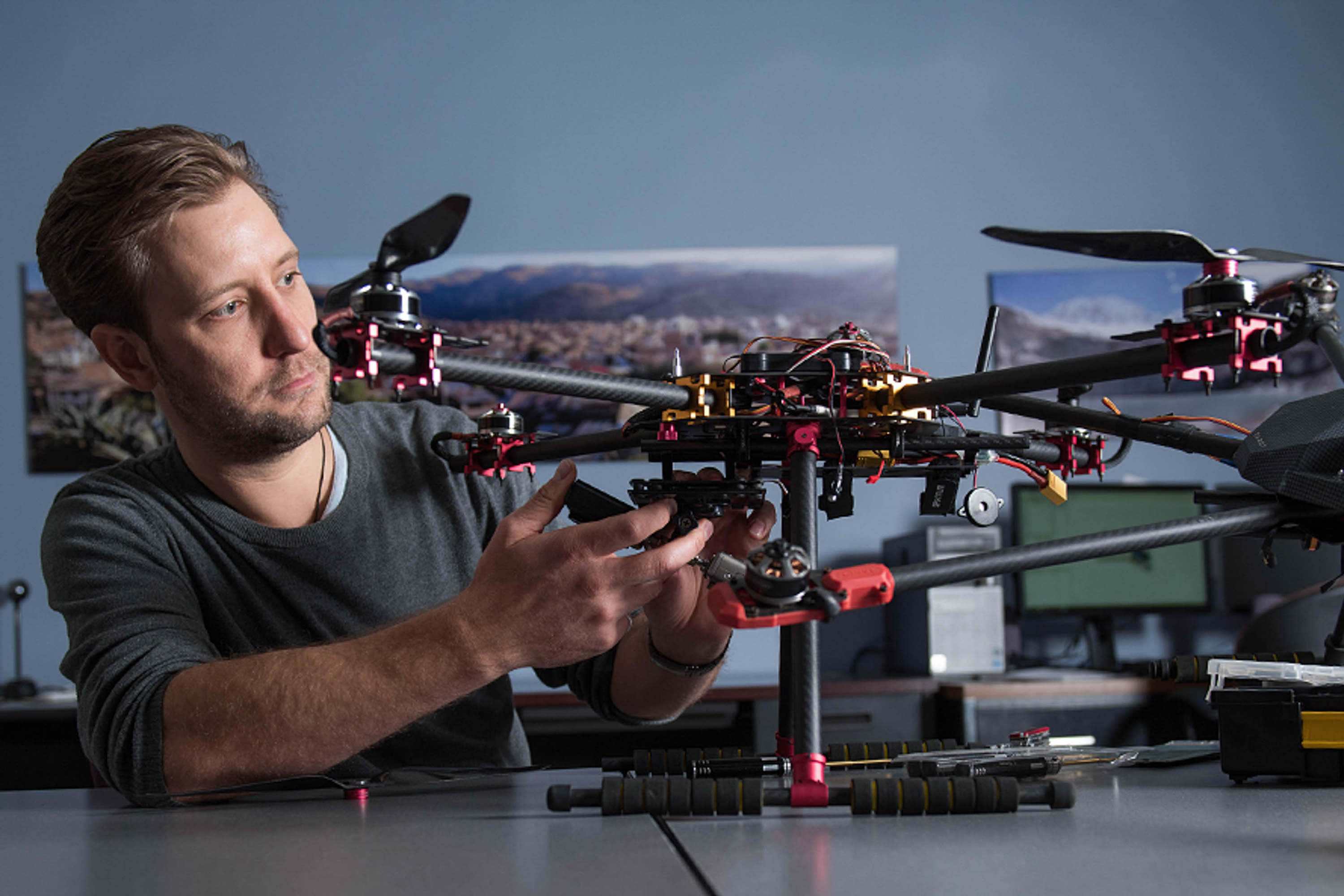 Graduate student with drone